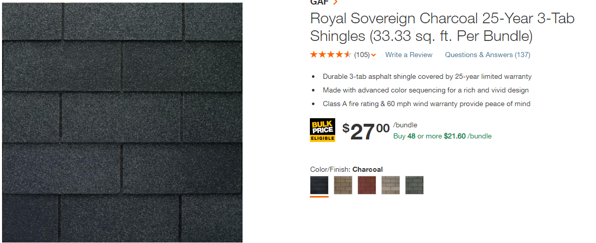 Three Tab Shingles Price
